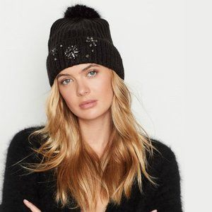 Victoria's Secret Black Snowflake Sparkle Pom Hat